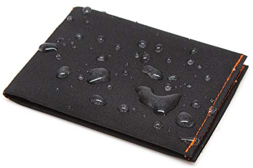 SlimFold Minimalist Wallet - Thin, Durable, and Waterproof Guaranteed - Made in USA - MICRO Size Black with Orange Stitching