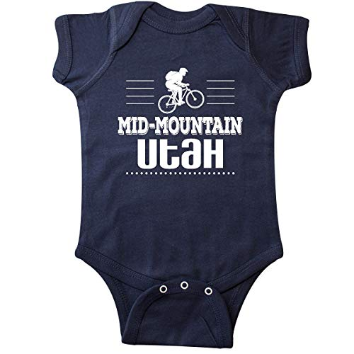 inktastic Mid Mountain Utah Mountain Biking Infant Creeper 12 Months Navy Blue