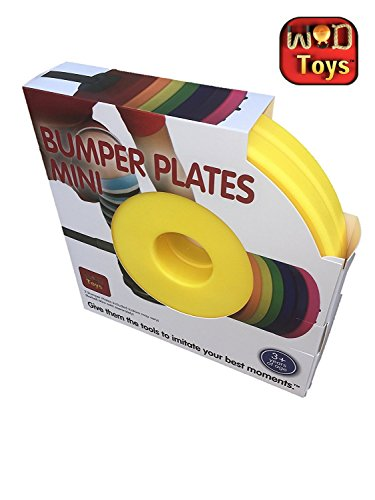 WOD Toys Colored Bumper Plates Mini - Add On Bumper Plates for The Barbell Mini - Safe, Durable Fitness Toys for Kids (Yellow)