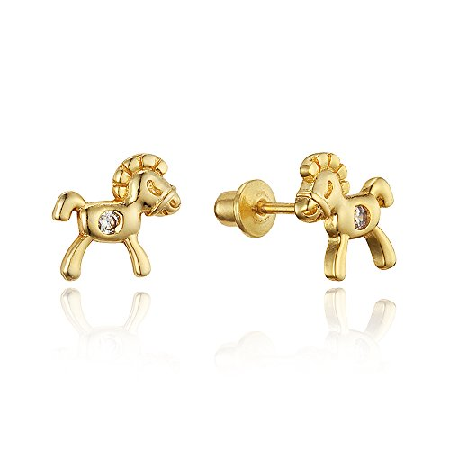 Price comparison product image 14k Gold Plated Brass Horse Cubic Zirconia Screwback Baby Girls Earrings with Sterling Silver Post