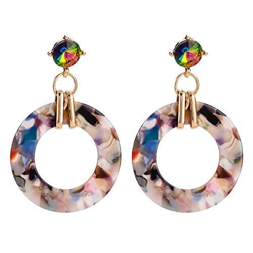 ZZEARRING Earrings Circle Acrylic Earrings Cross Border Colorful Earrings Retro Tassel Long Popular Jewelry Infinity Fashion Charmer Elegant (Earrings Beaded Border)