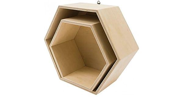 Juego de 2 cajas de madera hexagonales rico design: Amazon ...
