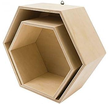 Juego de 2 cajas de madera hexagonales rico design