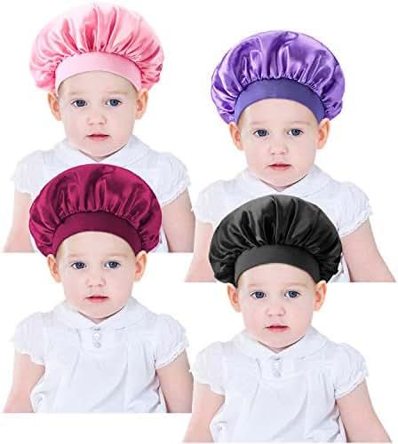 4 Pieces Kids Satin Bonnet Sleeping Cap Wide Band Sleeping Hats Bonnet Cap for Kids Toddler Children Baby (Color Set 1)