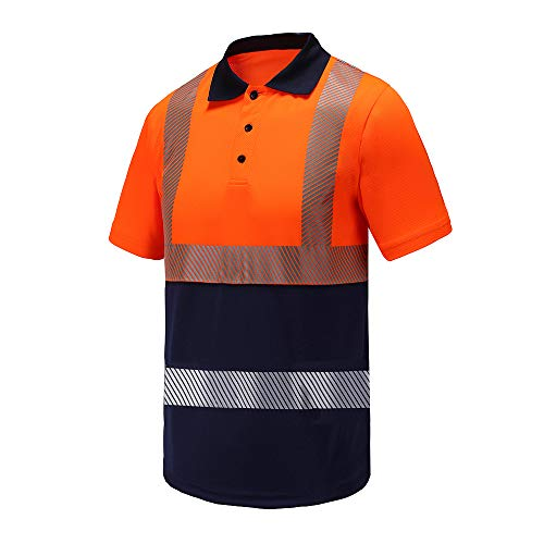 Industrial Reflective Polo Workwear,A-SAFETY, Safety Short Sleeve Polo for Takeaway Deliveryman Orange, XL
