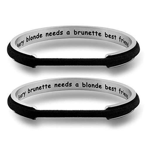 WUSUANED Every Brunette/Blonde Needs A Blonde/Brunette Best Friend Hair Tie Cuff Bracelet Set Gift for BFF (Blonde+Brunette ()