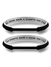WUSUANED Every Brunette/Blonde Needs A Blonde/Brunette Best Friend Hair Tie Cuff Bracelet Set Gift for BFF