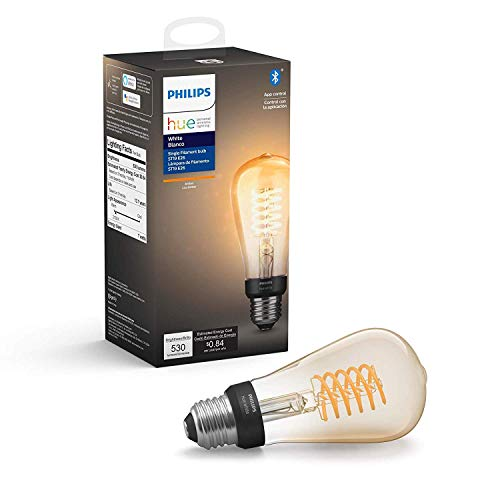 Philips Hue White Filament ST19 LED smart vintage bulb, Bluetooth & Hub compatible (Hue Hub Optional), voice activated with Alexa