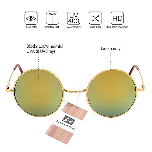 Cyber rétro soleil qualité Lunettes Goggles Steampunk Punk KINDOYO hommes miroir Or de Or pour rond UV400 Femmes gWFXzcnc1q