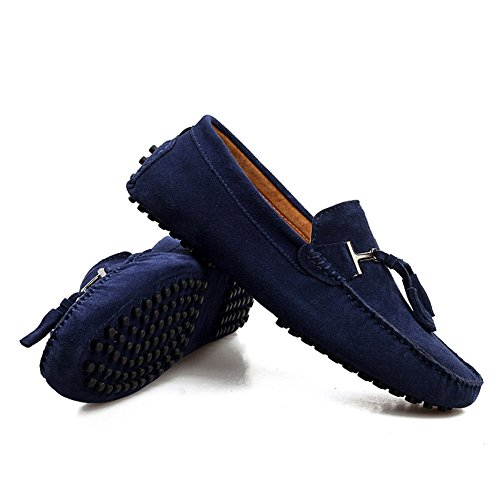 HUAN Mocassins en Cuir Suédé Pour Hommes Classique Slip Ons Chaussures Bateau Décontracté Conduite Chaussures Bleu Foncé, Or, Gris, Vert Foncé, Café D