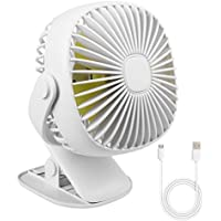 AICase Clip on Fan and Desktop Fan 2 in 1, 2000mAh Rechargeable Battery Silent Mini Portable Clamp 360°Manual Adjustable Fan 3 Mode with Light for Baby Stroller,Car, Desktop, Home and Outdoors