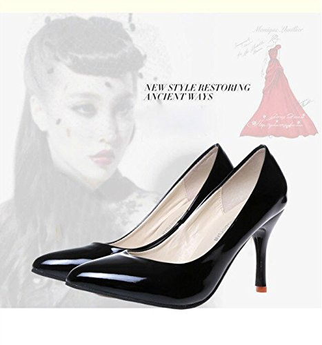 Gaorui ladies heels pointed toe kitten heel shoes slip on court shoes low heel office party shoes Rose GqLFU03