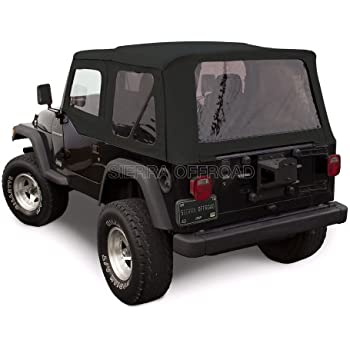 Sierra Offroad Jeep Wrangler TJ (1997 2002) Factory Style Soft Top With  Tinted Windows, With Matching Upper Door Skins Black Sailcloth