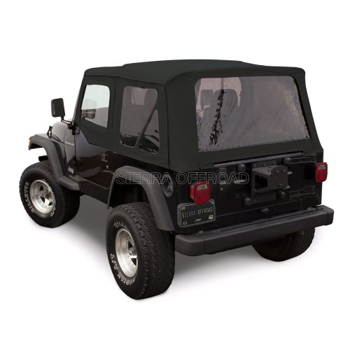 Soft Upper Doors (Sierra Offroad Jeep Wrangler TJ (1997-2002) Factory Style Soft Top with Tinted Windows, with matching Upper Door Skins Black Sailcloth)