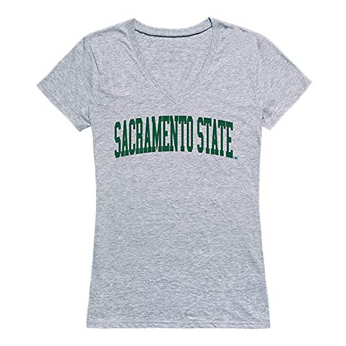 - W Republic CSUS Sacramento State Hornets NCAA Game Day Tee Womens V Neck Shirt, Medium Heather Grey