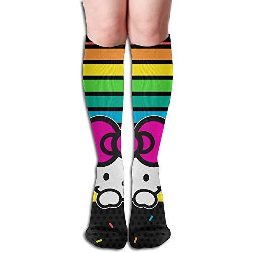 56503c58c JINUNNU Knee High Tube Socks Hello Kitty Rainbow Dounts Funny Boot Socks  for Girl Women