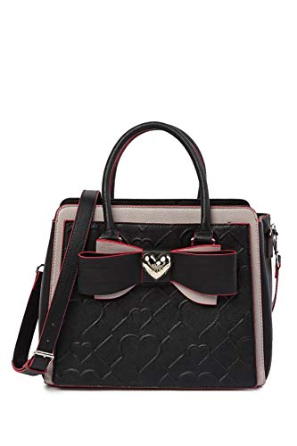 Betsey Johnson Double Bow Metallic Heart Charm Black Diamond Heart Quilted Handbag Shoulder Bag