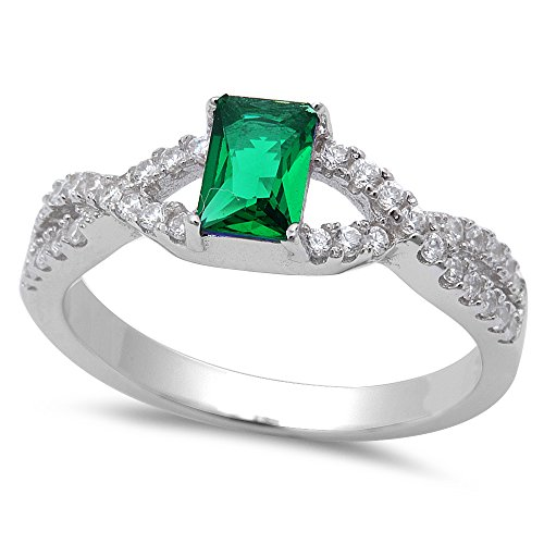 Emerald Bezel Ring (Simulated Green Emerald .925 Sterling Silver Ring Sizes)