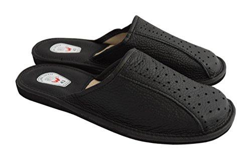 WOJCIAK Mens Handmade Natural Leather Black/Brown Slippers Black m5kgy5d