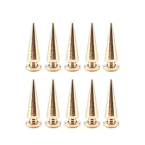 (10 x Copper Cone Screw Back Spikes Studs for Denim Rock Leather Jacket 10 x 29mm (Color - Yellow))