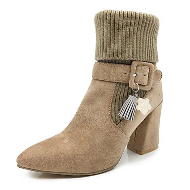 Ankle Heel 5 Toe Shoes Boots Boots UK5 CN38 Knit 5 Pointed Fashion Boots Nubuck Winter Booties Chunky Bootie US7 Women'S Boots Slouch Leather Buckle Fall EU38 RTRY Uw5a6q54