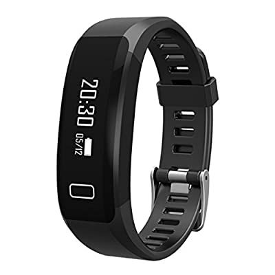 Heart Rate Smart Fitness Band Activity Tracker Bracelet Wristband HR Pedometer Wireless Bluetooth 4.0 Steps Distance Sleep Calorie Touch Button Call Message Reminder, iOS Android App Enababled Black
