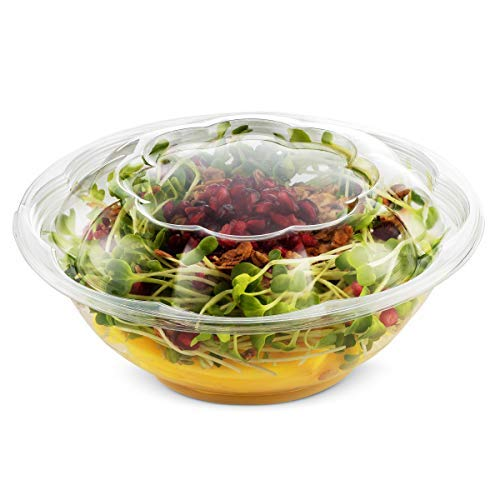 NYHI 18 Ounce Clear Plastic Disposable Salad Containers Set with Leak Proof Lids - Bulk Pack of Portable Salad To-Go Meal Prep Food Boxes - Fresh Airtight Seal - 50 pack