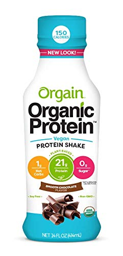 Orgain Organic 21g Plant Based Protein Shake, Smooth Chocolate, Vegan, Gluten Free, Non-GMO, 14 Ounce, 12 Count (Packaging May Vary)