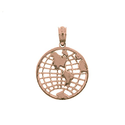 Rose Gold-plated Silver 21mm World, Globe Pendant