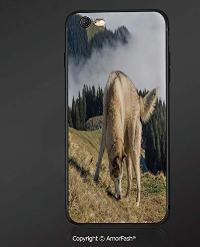 Fashionable iPhone 6S Case with Heavy Duty Protection for iPhone 6S / iPhone 6,Alaskan Malamute,Purebred Dog Foggy Mountains Trees Faithful Companion Decorative,Light Brown Dark Green Beige