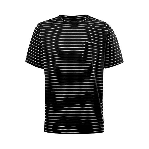 Asysst Men's Fashion Stripes Spandex T-Shirts Short Sleeve Crewneck Classic Comfort Soft Casual Tshirts Striped Tees Top Black X-Large ()