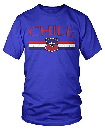 - Amdesco Men's Chile Flag and Country Crest, Chilean Pride T-Shirt, Royal Blue XL