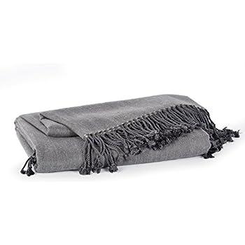 Berkshire Blanket Cashmere Bamboo Luxury Throw Blanket, Grey Heron