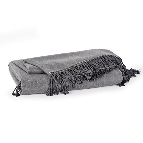 Berkshire Blanket Cashmere Bamboo Luxury Throw Blanket, Grey Heron