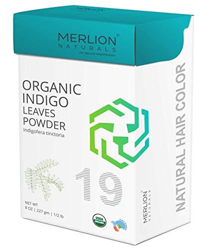 Organic Indigo Leaves Powder by Merlion Naturals | Indigofera tinctoria | 227gm/ 8OZ/ 1/2lb | USDA NOP Certified 100% Organic
