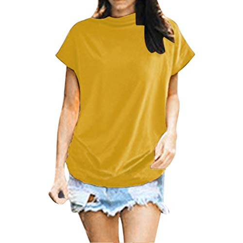New in Summer Haalife◕‿Women Turtleneck Short Sleeve Top Fashion Irregular Blouse T Shirt Casual Oversize Tunic Tops Yellow