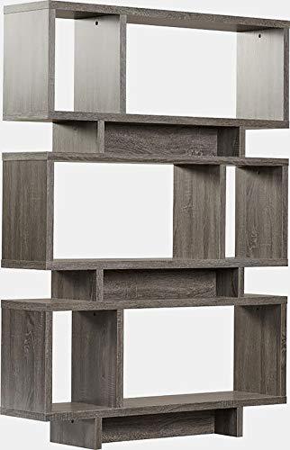 BUkk Wood Bookcase - Asymmetrical Design Bookcase - Weathered Grey