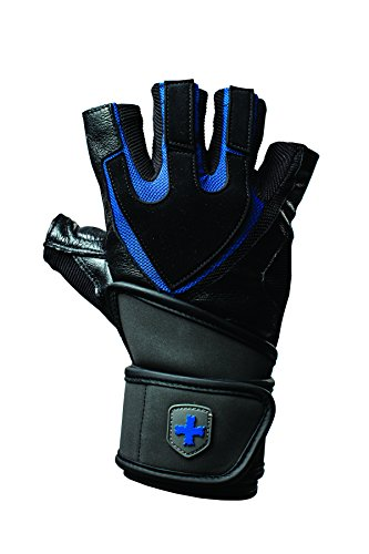Harbinger Training Grip Wristwrap Weightlifting Gloves with TechGel-Padded Leather Palm (Pair), - Wrap Training Wrist