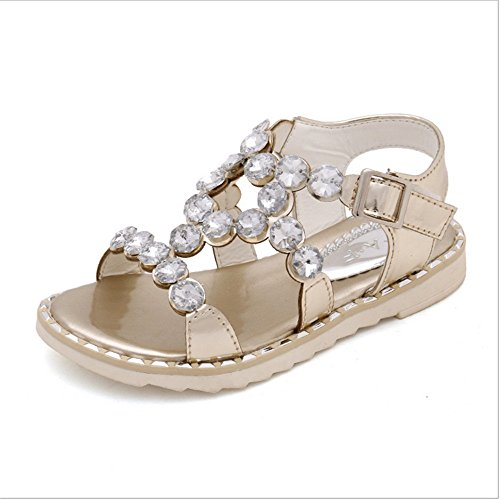 ZGSX sandalias del Rhinestone de 2017 sandalias de los zapatos de la princesa muchachas del verano de los niños antideslizante inferior suave ( Color : Gold , tamaño : 33-20cm )