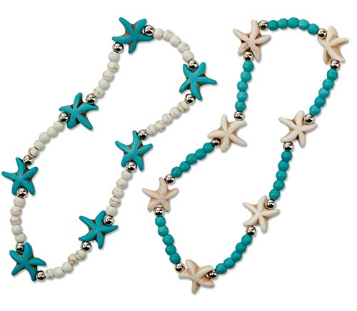 (SPUNKYsoul 2 Pack Turtle Anklet Beachy Howlite Stretch - 2 Pack Beach Collection ...)