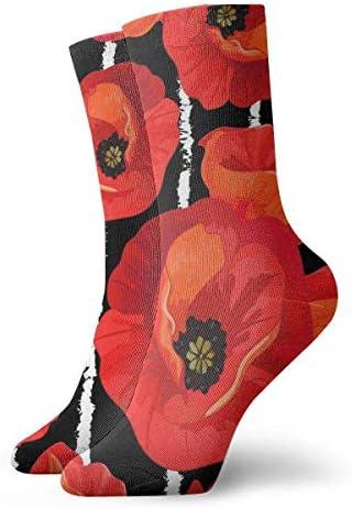 Kompressionsstrümpfe mit roten Mohnblumen auf gestreiften schwarzen und weißen Blumen, 30 cm lang