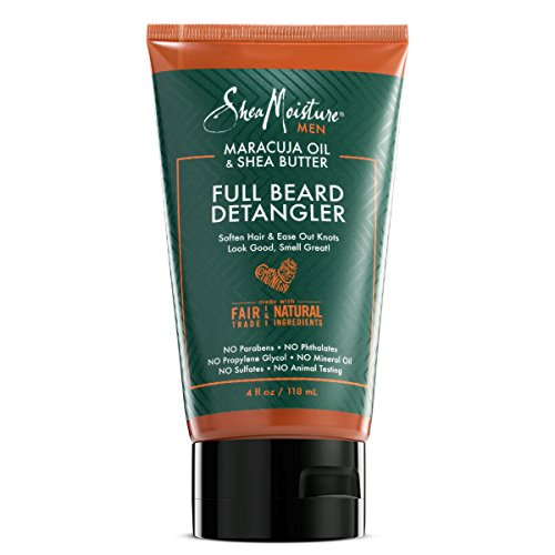 Shea Moisture Mens Full Beard Detangler, All Natural ingredients, Maracuja Oil & Shea Butter, Soften Hair & Ease Out Knots for a Scuff-Free Beard, 4 Ounce
