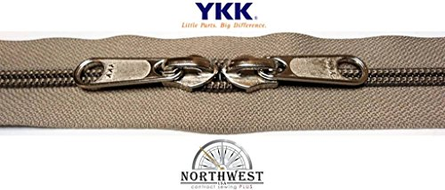 YKK #8 Zipper coil chain with 2 sliders per yard. Sold in 5-yard lots. Please see our other listing for size 10 & size 5 (5 yards & 10 nickel sliders, Khaki)