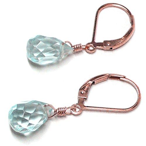 Lab Grown Aqua Quartz 10x6 Briolette Lever Back Earrings Rose Gold-Filled (Briolette Blue Quartz Earrings)