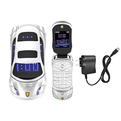 Student Flip Phone for Ferrari Car-Shape Phone Flip Keypad Car Model Mobile Phone GSM Cell Phone 100-240V, Support SMS, MP3, Camera, Video Playback, Recording, Radio, Bluetooth, Calculator(White) (Best Keypad Mobile Phone)