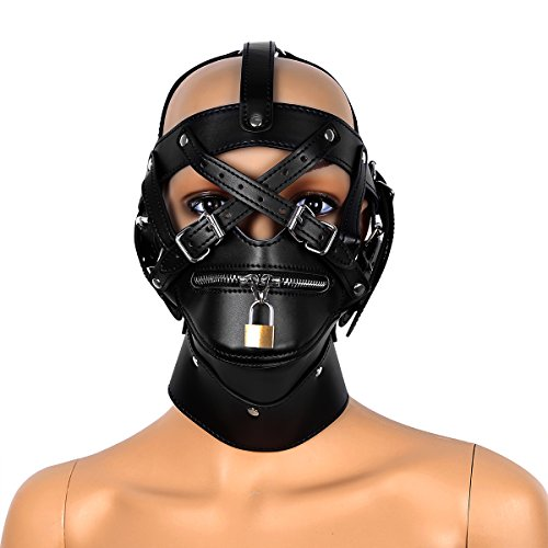 iiniim Black Leather Costume Full Covered Hood Mask Buckled Lockable Headgear (Male Slave Halloween Costume)