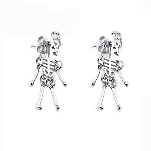 J.Memi.Men Skull Earrings Stud Gothic Punk Rock Stainless Steel Endless Hoop Halloween Decoration for Accessories, They Make a Perfect Father's Day -