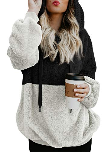 (Elapsy Womens Casual Loose Colorblock Long Sleeve Pullover Fluffy Fleece Sweatshirt Hooded with Pockets Outwear Black White Large)