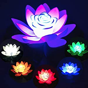 Hankyky Floating Flower LED Artificial Lotus Lily Color Changing Candle Lamps for Home Garden Pond Aquarium Wedding Decor 49