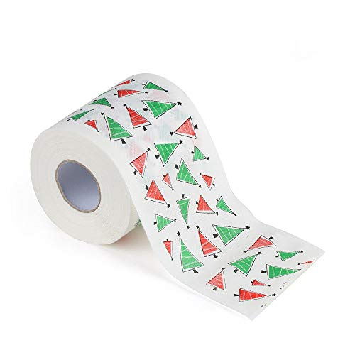 Crytech 1 Roll Christmas Toilet Roll Paper Bathroom Tissue Xmas Supplies Decor Home Decotation Napkin Prank Fun Birthday Party Novelty Joke Humor Gag Gift with 170 Sheets | 3-Ply (Santa Tree)
